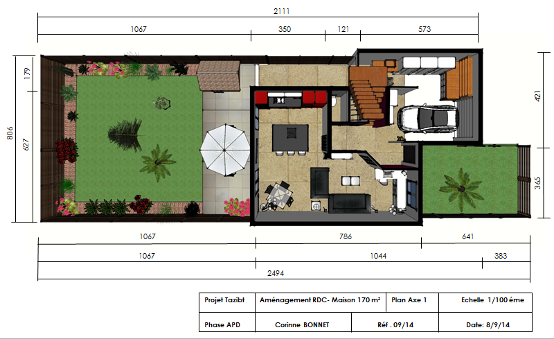 plan d'implantation maison 170 m² R-1